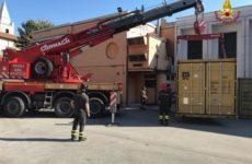 Vigili del fuoco Ascoli, container per aiuti alla popolazione